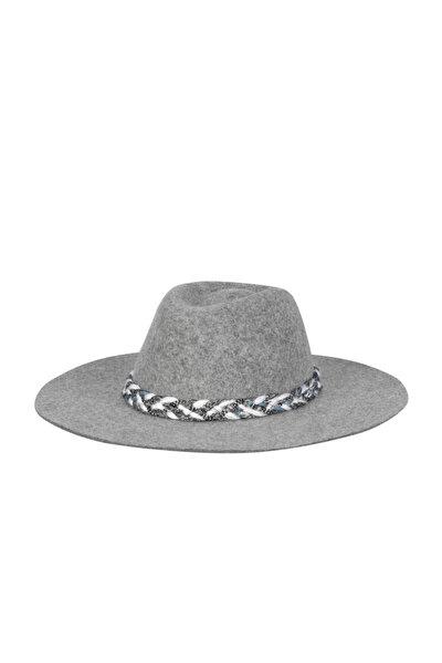Kadın Gri Melanj Hasır Şapka 1197754