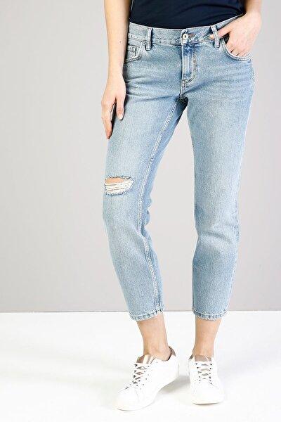 KADIN 895 Sofıa Düşük Bel Düz Paça Cigarette Fit Mavi Kadın Jean Pantolon CL1036018