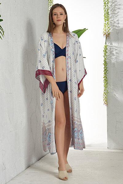 Kadın Şal Desen Uzun Kimono