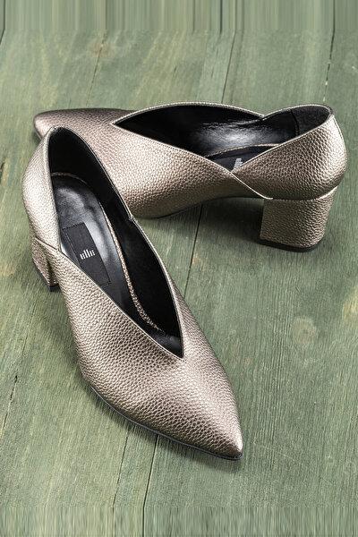 ETTSU Kurşun Rengi Kadın Topuklu Ayakkabı