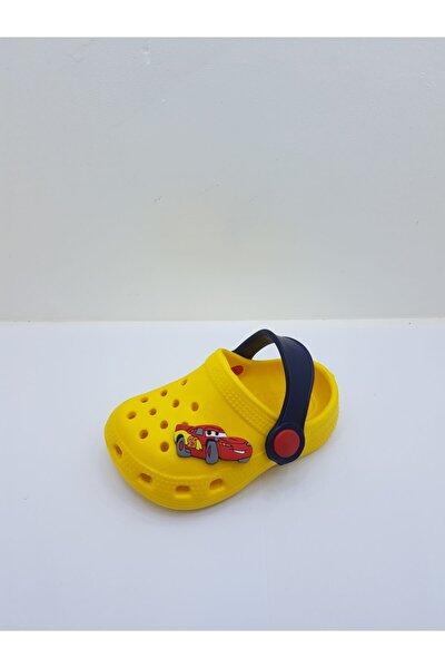 Erkek Bebek Sarı Arabalı Terlik