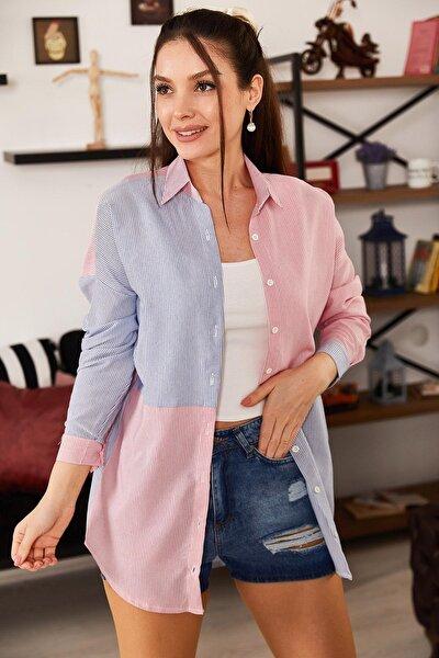 Kadın Mavi Çizgili İki Renkli Uzun Kol Salaş Gömlek ARM-21K001193