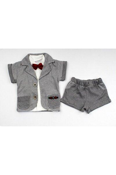 Erkek Bebek Açık Gri Kısa Kol Cepli 3 Parça Yazlık Takım Elbise