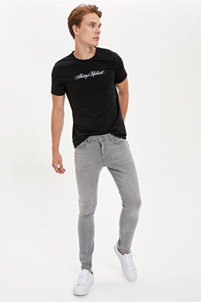Erkek Siyah Baskılı Slim Fit Bisiklet Yaka Tişört S4979AZ20HS