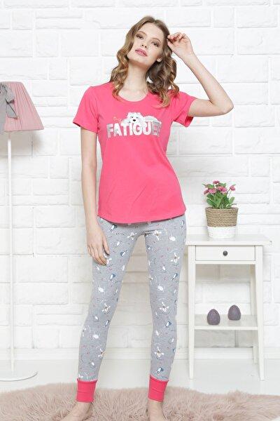 Kadın Kısa Kol Normal Beden Lycralı Pamuklu Pijama Takım