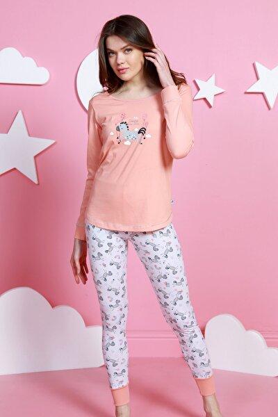 Kadın Pembe  Uzun Kol Normal Beden Lycralı Pamuklu Pijama Takım