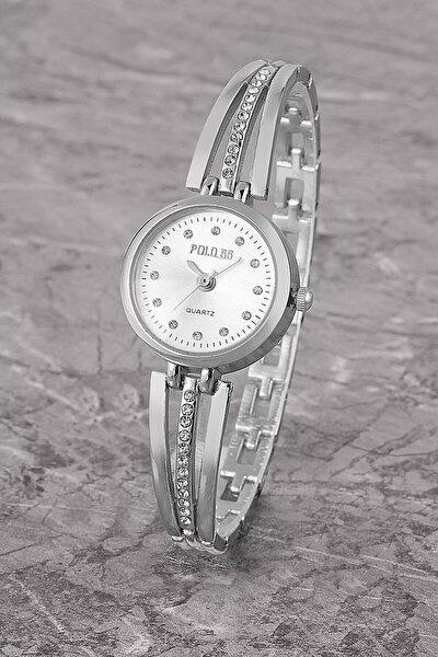 Plkm003r04 Taşlı Basit Kadran,bilezik Modeli,kadın Gümüş Kol Saati