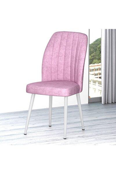 Platinum Serisi Pembe Renk Sandalye -ayakları Beyaz 1.sınıf Mutfak Sandalyesi Silinebilir Kumaş
