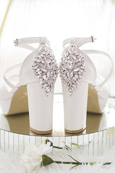 Kadın Beyaz Swarovski Örümcek Taşlı Koşma Garantili 11 cm Gelin Ayakkabısı