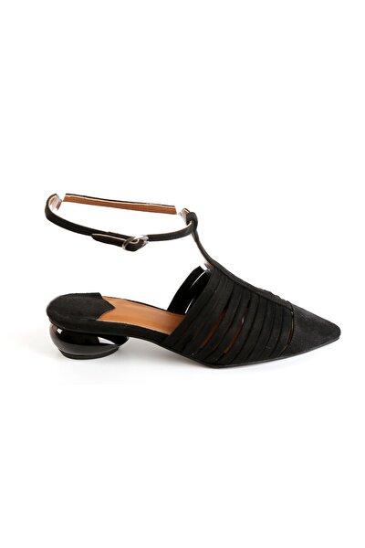 Kadın Süet Topuklu Ayakkabı Siyah