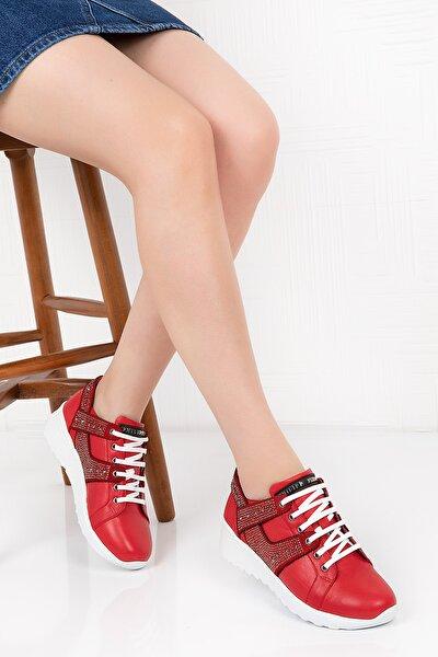 Hakiki Deri Taş Ayrıntılı Spor Ayakkabı