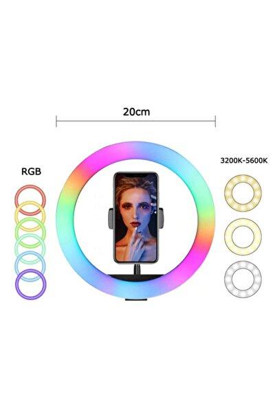Youtuber Kuaför Makyaj Çekimleri Için 8' Rgb Ring Light + 20cm Masaüstü Tripod