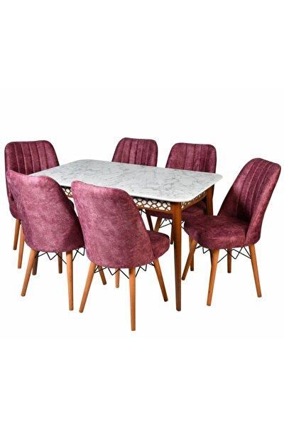 Mutfak Masa Sandalye Takımı, 6 Adet Gül Kurusu Sandalyeli Beyaz Mermer Lazerli Masa