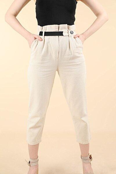 Kadın Bej Yüksek Bel Lastik Kemerli Keten Pantolon