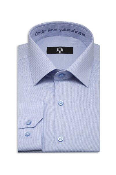 Erkek Gök Mavi Ömür Boyu Yakandayım Nakışlı Hatıra Gömleği