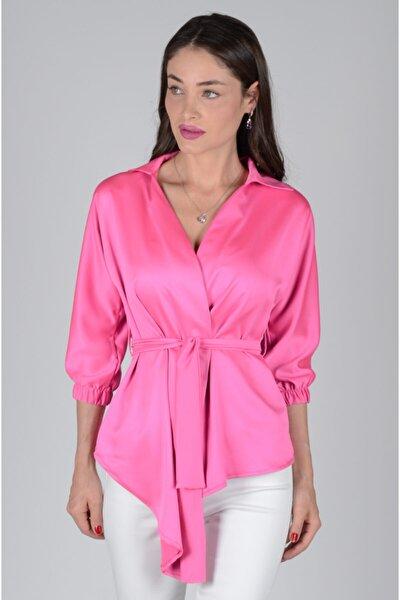 Kadın Pembe Belden Bağlamalı Ipek Saten Bluz