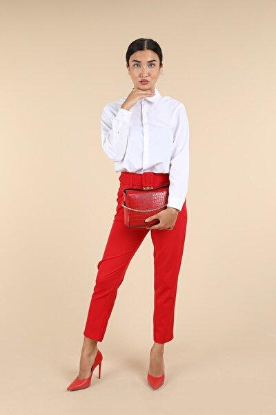 Kadın Kırmızı Kemerli Pantolon