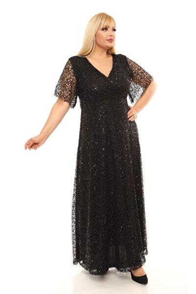 Kadın Siyah Uzun Degaje Payetli Büyük Beden Abiye Elbise