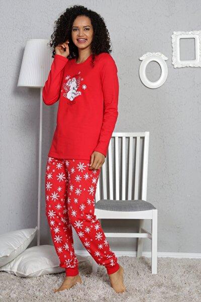 Kadın Nar Çiçeği Uzun Kollu  Pamuklu Pijama Takım