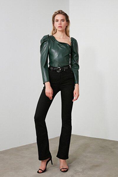Siyah Yüksek Bel Flare Jeans TWOSS20JE0211