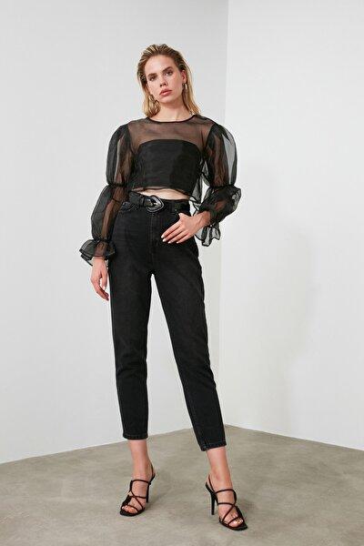 Siyah Yıkamalı Yüksek Bel Mom Jeans TWOSS20JE0099