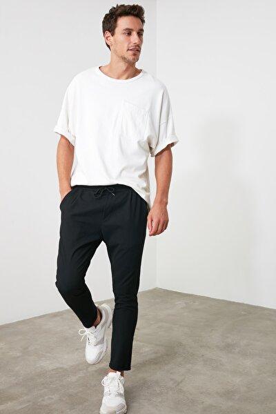 Siyah Erkek Beli Lastikli Slim Fit Pantolon TMNAW21PL0107