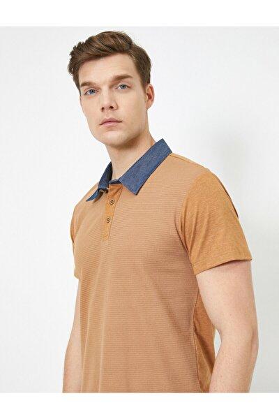Erkek Kahverengi Polo Yaka Kisa Kollu T-shirt