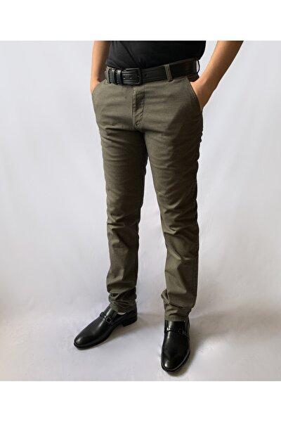 Erkek Haki Pamuklu  Slim Fit Pantolon