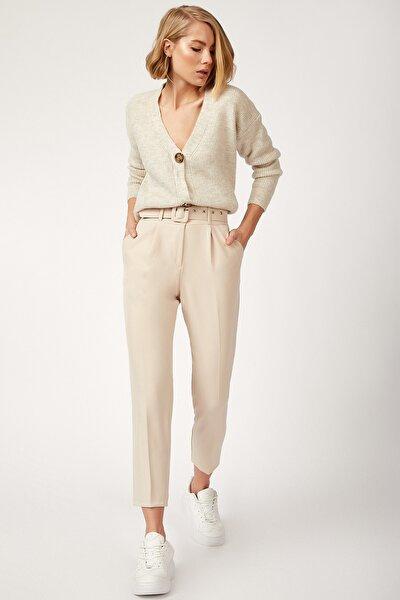 Kadın Taş Kemerli Yüksek Bel Likralı Pantolon FN02257