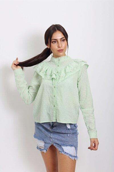 Kadın Mint Yeşil Hakim Yaka Uzun Kollu Puantiye Detaylı Şifon Gömlek 11040