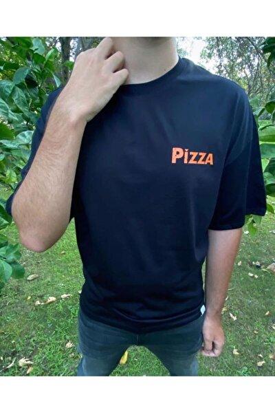 Unisex Siyah Pizza Baskılı T-Shirt