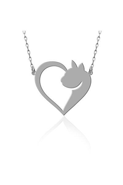 Kadın Beyaz Kedili Kalp Gümüş Kolye