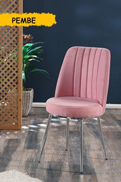 Gold Sandalye Pembe - Metal Krom Kaplama Ayaklı