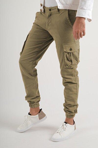 Kargo Paçası Lastikli Toprak Rengi Erkek Pantolon