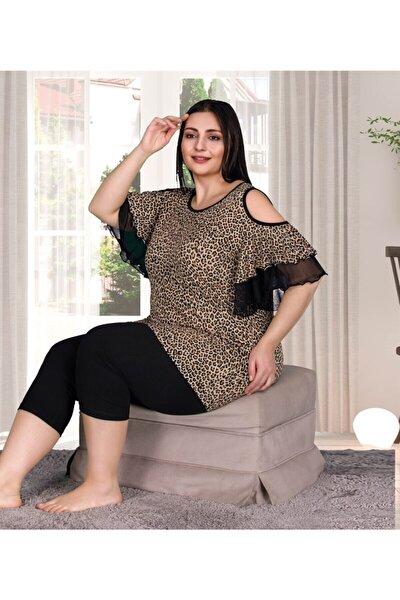 Kadın Büyük Beden Volan Kol Leopar Desenli Kapri Pijama Takımı