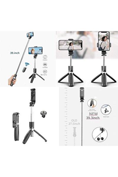 L09 4in1 Selfie Çubuğu Özçekim Tripod Çubuğu Bluetooth Uzaktan Kumandalı