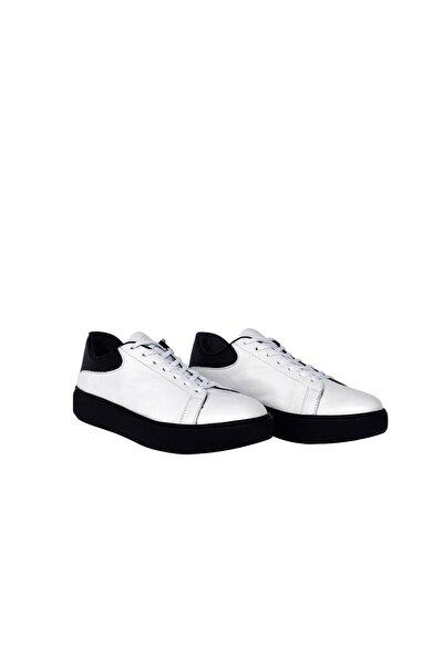 Erkek Beyaz Hakiki Deri Bağcıklı Ayakkabı