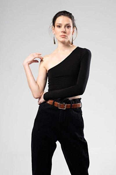 Kadın Siyah Tek Kollu Bluz