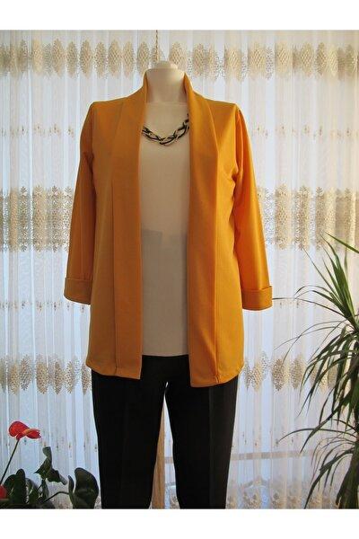 Kadın Hardal Düz Uzun Crep Ceket