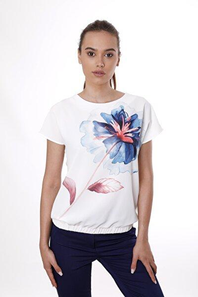 Kadın Beyaz Çiçek Desenli Eteği Lastikli Kısa Kollu Bluz