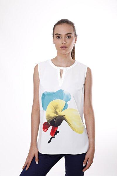Kadın Sarı Magnolya Çiçek Desenli Kolsuz Bluz