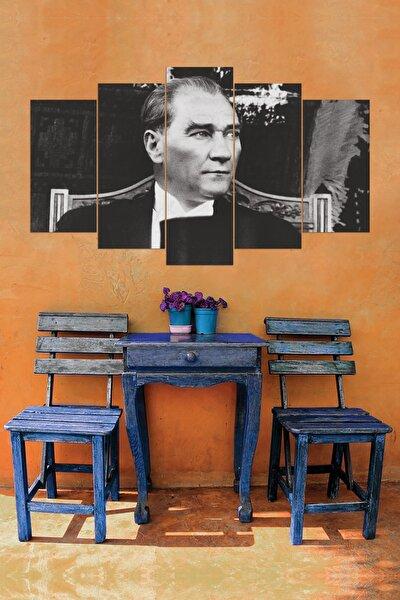 Siyah Beyaz Atatürk 5 Parçalı Mdf Tablo