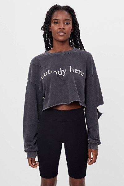 Kadın Gri Acid Wash Crop Fit Sweatshirt