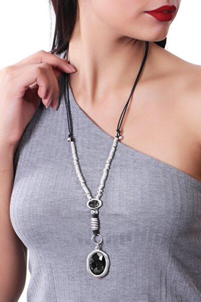 Kadın Antrasit Renk Antik Gümüş Ayarlanabilir Deri Kordonlu Kristal Kesme Taş Detaylı Hürrem Kolye