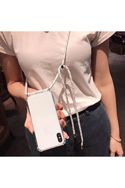 Iphone 6s Plus Için Boyun Askılı Şeffaf Beyaz Ipli Kılıf