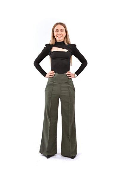 Kadın Haki Boru Paca Pantolon M013