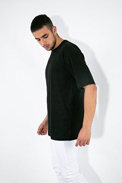 Erkek Siyah Oversive Basic T-shirt