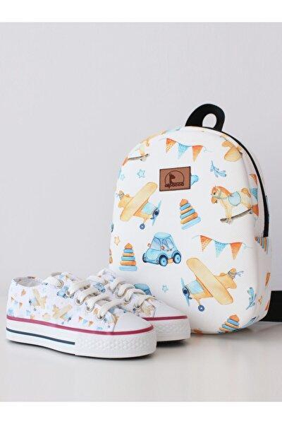 Unisex Beyaz Oyuncak Desenli Ayakkabı ve Çanta Takımı