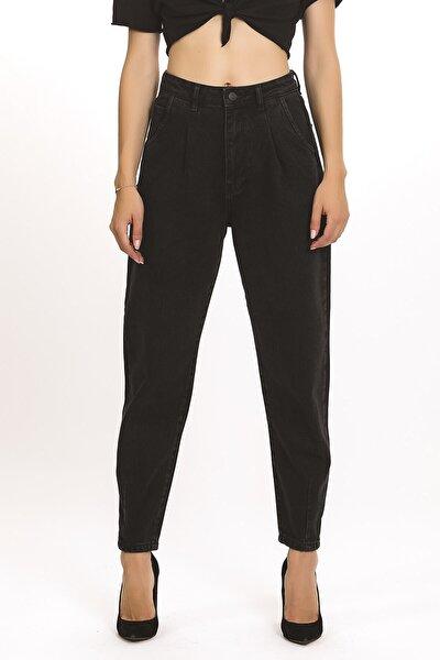 Kadın Önü Pileli Black Od Rengi Yüksek Bel Balon Jean