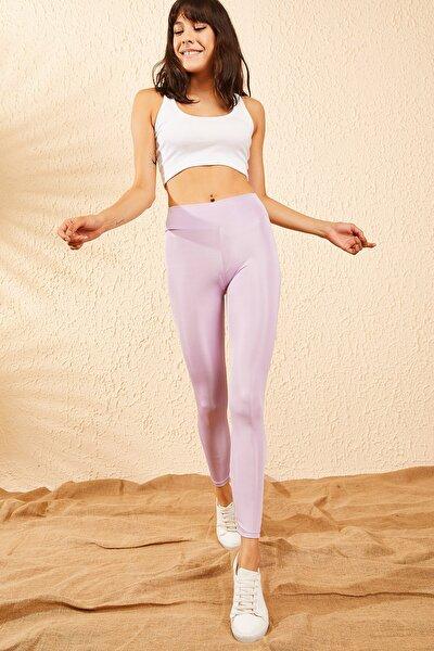 Kadın Lila Uzun Kemerli Toparlayıcı Parlak Disko Tayt Fitness 2253399